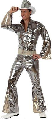 Costume Man Disco Silver Grey XL Suit Years 1980 New Cheap