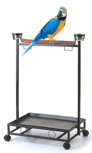 Large Parrot Bird Play Wood Perch Stand Gym Play Ground Rolling Wheel Steel Bowl