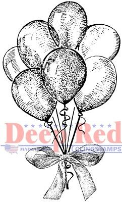 Deep Red Stamps Party Balloons Rubber Cling Stamp