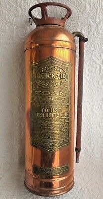 Antique Copper Fire Guard Extinguisher General Model QuickAid F-833 Detroit, MI