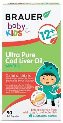 New Brauer Baby & Kids Ultra Pure Cod Liver Oil with DHA 90 Soft Gels 12+ (Baby Soft Oil Gel)