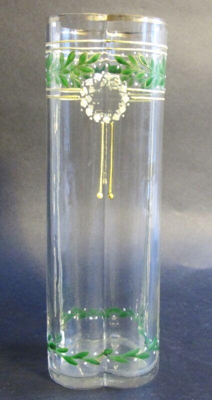 MOSER HOFFMAN Jugenstil Art Nouveau Enameled Art Glass Vase  c. 1900   Antique