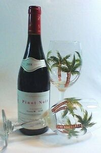 Two Hand Painted Wine Glasses With Palm Tree Design on Large 20 oz. Size