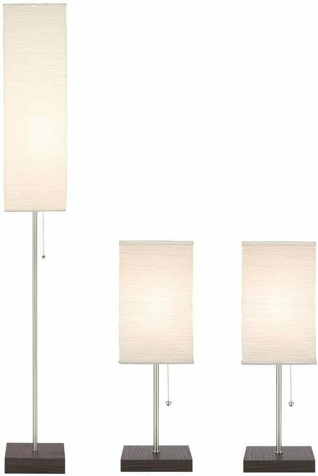 "Hampton Bay Paper Shade Lamp Set - 60"" Floor + 2 19"" Table L"