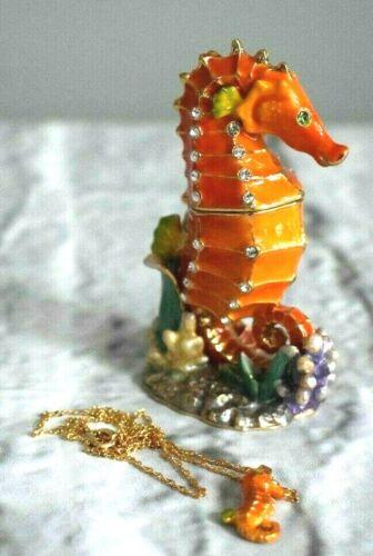 Seahorse Jeweled Trinket Box & Pendant Made with Swarovski Crystal Enamel Pewter