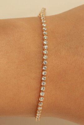 18K Yellow Gold Finish 0.55CT Round Diamond Tennis Bracelet Wedding Gift