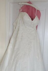 Dorothy Rose 'Evelyn' Ivory 3-Layered Wedding Dress with 6ft Cathedral Train (Size 16-18)
