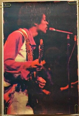 Jimi Hendrix Vintage Blacklight Poster Psychedelic Dotted 1970 Pin-up Ephemera