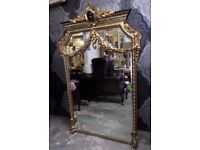 Stunning HUGE 4' Hall Shabby Chic Gold Guilt Mirror