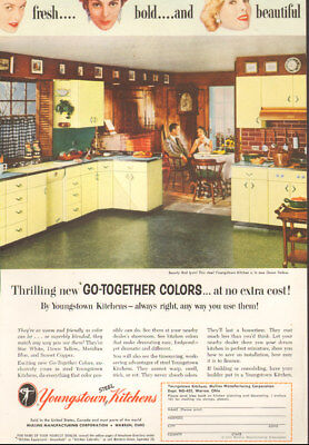 1955 vintage Ad Steel YOUNGSTOWN KITCHENS ,very '50s' look   051218