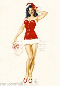 1940s Pin-Up Girl Christmas Santa Claus Picture Poster Print Art Pin Up
