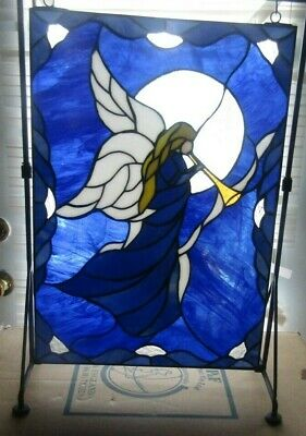 New House Gift for Her Home Decor Blue and White Victorian Heart Stained Glass Night Light Handmade Artisan Glass