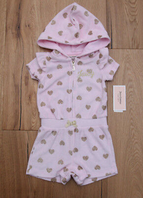 Juicy Couture Baby Girl Hooded Zip up Terry Romper ~ Pale Pink with Gold Hearts ()