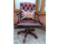 Stunning Chesterfield Antique Oxblood Red Captains Swivel Office Chair Leather - UK Delivery
