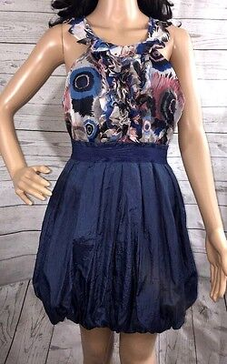 Scoop Neck Floral Bubble Dress - Twelve by Twelve Bubble Dress Small Blue Gray Pink Silky Floral Sleeveless Style