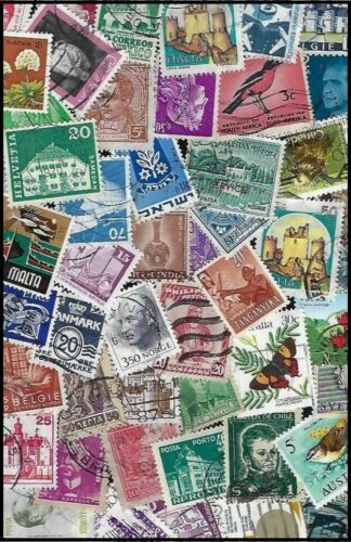 200 Worldwide Small and Medium Stamps - All Different