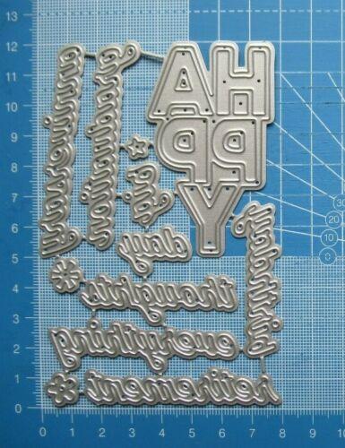 Craft / Cardmaking Metal Cutting Die Set - 12 Pc HAPPY + Sentiments & Greetings