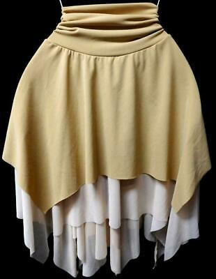 Misses me beige asymmetrical hem plus size spandex sexy gypsy fairy skirt 2X - Plus Size Fairy