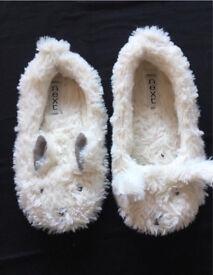 Next fluffy bunny slippers Girls size 12 EU30.5