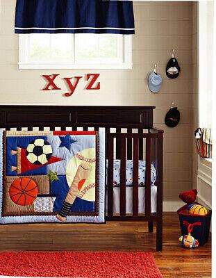 New 6PCS Baby Boy Bedding Set Sports Balls Nursery Quilt Bumper Sheet Crib Decor](Sports Nursery Decor)