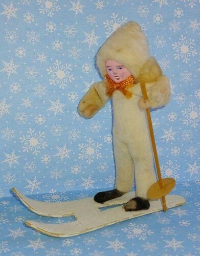 Vintage Christmas Spun Cotton Skier Clay Face Occupied Japan