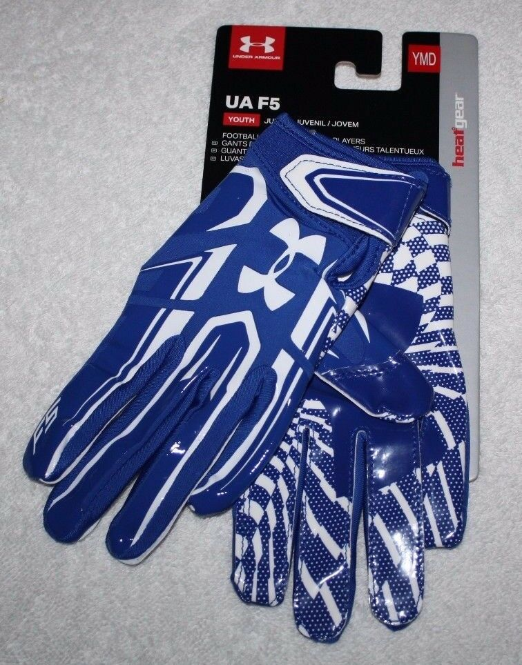 Under Armour Blue UA F5 Youth Boys Kids Football Gloves YMD