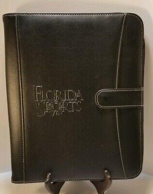 Florida Sports Black Leather Portfoliobinder Zippered Snap New