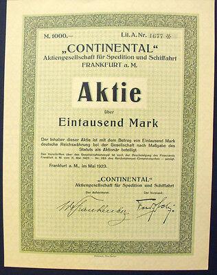 Frankfurt Main Continental AG für Spedition und Schiffahrt Aktie 1000 Mark 1923