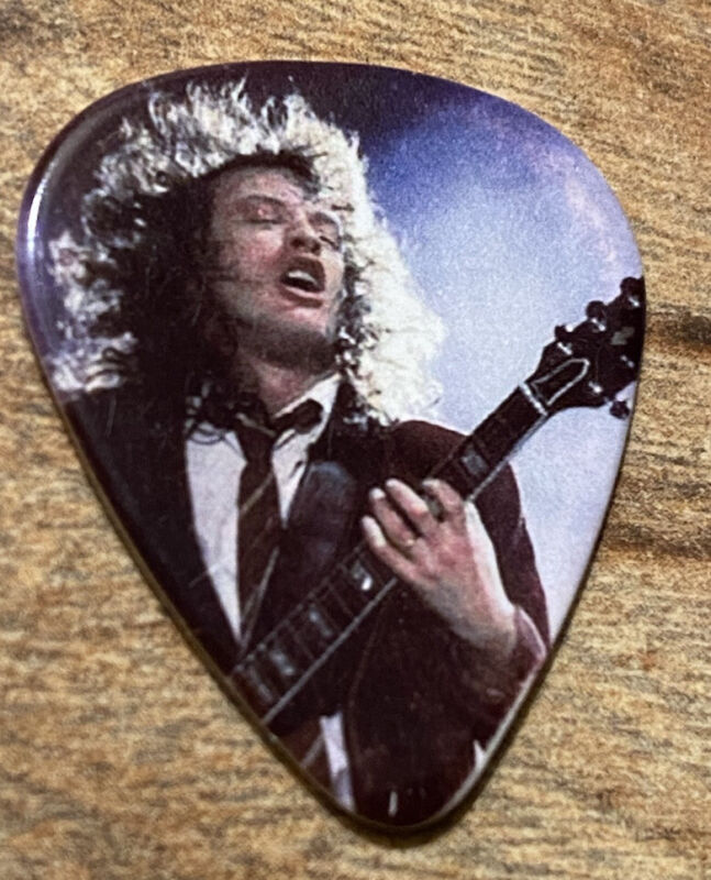 AC/DC Angus Young Photo Guitar Pick - Purple Background - 2009 Black Ice Tour