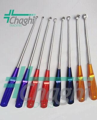 Rainbow Cervical Curettes Steel Handle Orthopaedic Spine Instruments 8 Pcs Set C