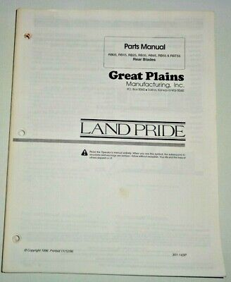 Land Pride Great Plains Rb05 To Rbt55120 Rear Blades Master Parts Manual Catalog