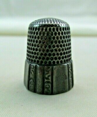 Pat 1889 Sewing Tool Size 10 Antique Sterling Silver Thimble Paneled Band Simons Bros