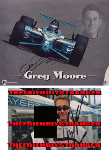 Rare GREG MOORE signed Autographed INDY CART 8X10 Photo PROOF Players Racing COA