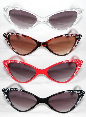 Cat Eye Sonnenbrille 50er Jahre zum Petticoat Kleid clear schwarz rot leo 902 ()