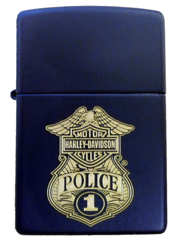 Zippo Harley Davidson Police Navy Matte Windproof Lighter NEW RARE