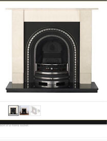 Cast iron fireplace with gas or electric burner