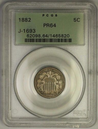 1882 Shield Nickel Pattern Proof Coin Pcgs Pr-64 Ogh J-1693 Judd Ww