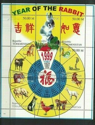 Turkmenistán stamps mini sheet Year of the Rabbit1999 Stamp Sheet R38666 MINT NH