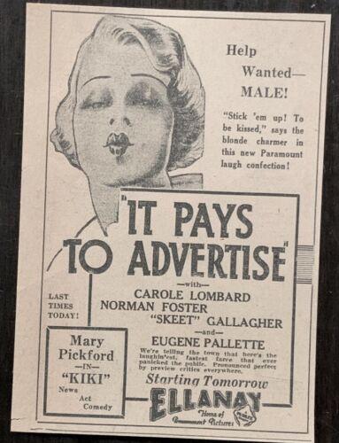 1931 - Early Carole Lombard movie advertisement - Original