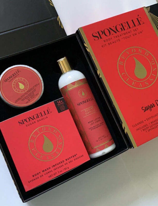 3Pc Spongelle🌺Gift Set Sugar Dahlia Boxed Daisy Body Buffer Lotion Spongette🌺
