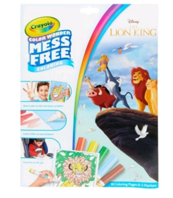 CRAYOLA COLOR WONDER~THE LION KING~INCLUDES 18 PAGES & 5 MARKERS~NEW