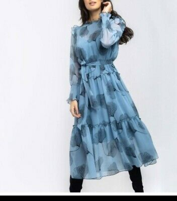Alba Conde pale designer sheer sleeved pleated Dress Size 10 RRP £150