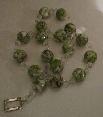 VINTAGE 1950s GREEN WHITE VENETIAN SOMMERSO GLASS BEADS NECKLACE