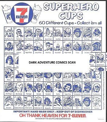 Vintage 1975 Marvel 7-11 Slurpee Superhero Cup Checklist VF/NM 7-Eleven NO REPRO