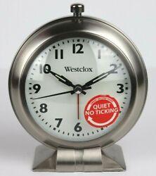 NEW Westclox Battery Op Analog Alarm Clock Sweep Second Hand Quiet No Ticking