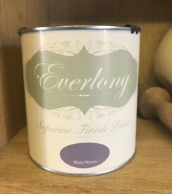 1 litre tin of Everlong Chalk Paint in Misty Mauve - new and sealed - perfect for upcyling furniture