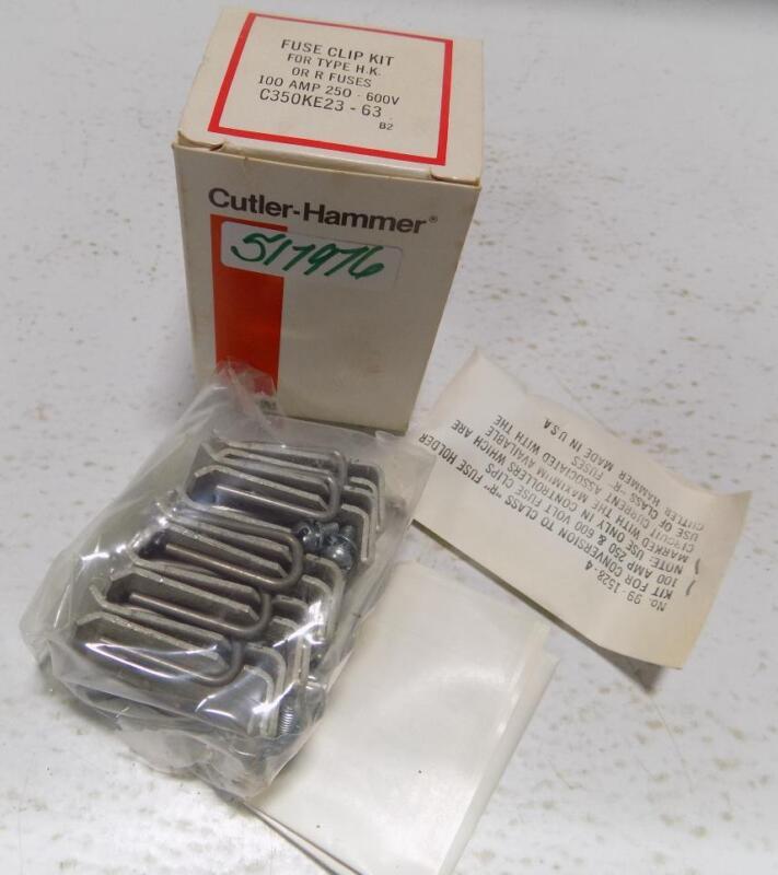 CUTLER HAMMER 100A 250-600V FUSE CLIP KIT FOR TYPE H.K. OR R FUSES C350KE23-63