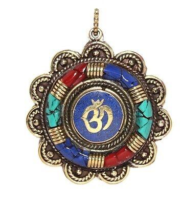 Turquoise Pendant Lapis Pendant Yoga Pendant Tibet Pendant Nepal Pendant Om M12
