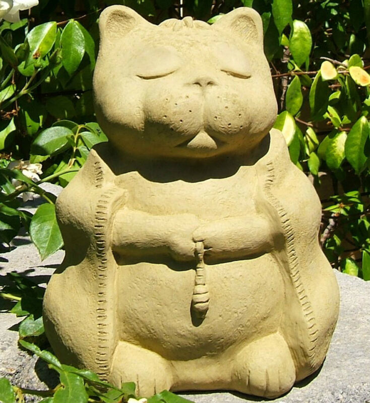 "LARGE MEDITATING CAT Solid Stone Garden Buddha ""Independence"" Zen Statue (O)"