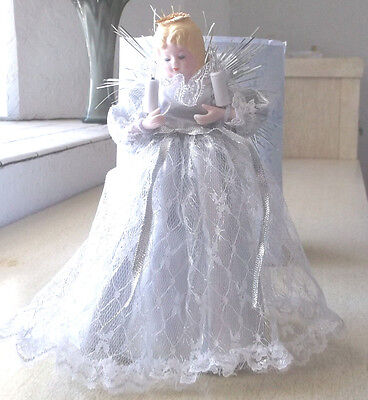 Tree Topper Angel Christmas Lighted White Silver